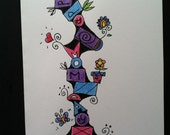 SALE - Happy Mom Day Doodle Card