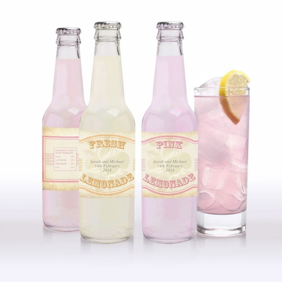 vintage lemonade, pink lemonade and limeade labels - printable editable file - soda personalized drink labels custom sticker diy drink label