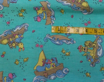 2 1/4 Yard Light Green with Noah's Ark Animals Precious Moments Flannel Fabric (359E)