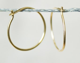 18k Gold Hoop Earrings - Small Hoops, gold hoops