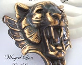 Winged Lion Bracelet Cuff Component, Rings Metal Bonded For A Professional Look To Your Designs, Gryphon Style, NOT RAW BRASS