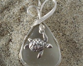 Turtle Pendant on Gray Sea Glass for Stephanie