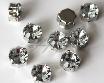 10 pcs of  8mm Faceted Round Sew On Crystal Clear Rhinestones W/Metal Prong..Nickel Free..Rhodium Plated Over Brass