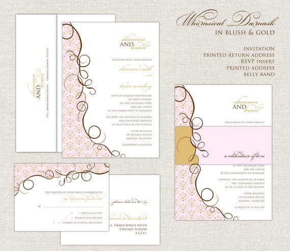 Whimsical Wedding Invitations, Damask, Blush And Gold