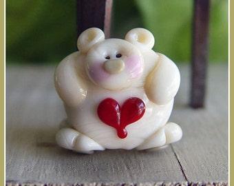 Huggy Bear Ivory Lampwork Bead