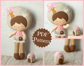 PDF. Little house doll.  Plush Doll Pattern, Softie Pattern, Soft felt Toy Pattern.