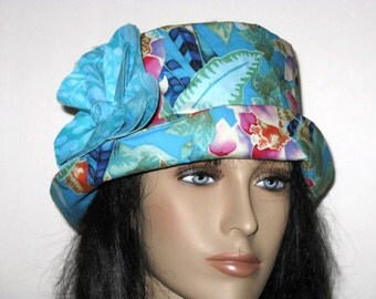 Cloche Hat Womens Blue Tropical Print with Flower-