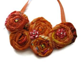 Tangerine Dream Bib Flower Statement Necklace