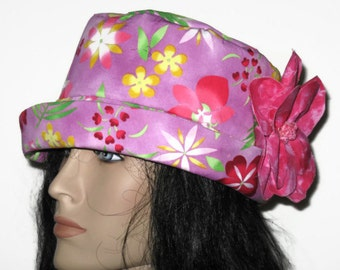 Cloche Bucket Hat Womens Lavender Tropical Floral Print with Flower Decoration