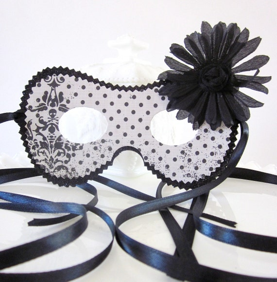 Retro Black and White Polka Dot Mask with Skull and Crossbones and a Large Flower Accent Costume