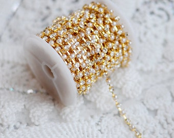 3 Feet Rhinestone and Pearl Chain Australia Crystal Gold SS16 4mm Wedding Cake Decoration Brooch Bouquet Jewelry Supply RC055