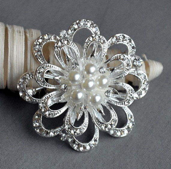 Rhinestone Brooch Pearl Crystal Brooch Bridal Brooch Bouquet Hair Comb Shoe Clip Wedding Cake Invitation DIY Supply BR056