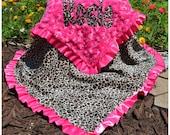 Cheetah Baby Blanket,Cheetah Minky,Hot Pinky Minky Swirl,Satin Ruffle,Personalized,Applique, Baby Blanket,Baby Girl,Toddler,Crib Blanket