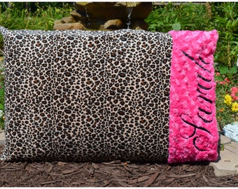 Cheetah Minky Toddler Pillow/Pillowcase- Hot Pink Minky Swirl - Personalized - Baby Girl-Boy-Teen-Adult