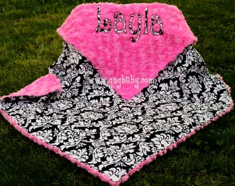 Baby Blanket  -Dandy Damask Black and White- Sorbet Pink Minky Swirl  Personalized/Appliqued -Baby Girl- Multiple Sizes