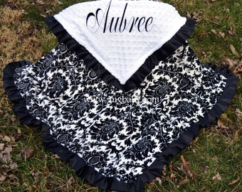 Baby Blanket - Dynasty Black and White - White Minky - Satin Ruffle- Personalized - Baby Girl - Multiple Sizes