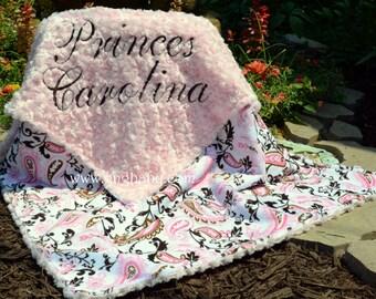 Paisley Minky Blanket -Paisley Pink/ Mocha - Pink Minky Swirl- Personalized - Baby Girl - Multiple Sizes