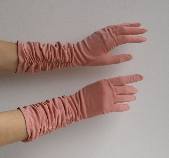 Vintage 50s Pink Ruched Elbow Length Gloves Mother's Day Gift Item No 3855