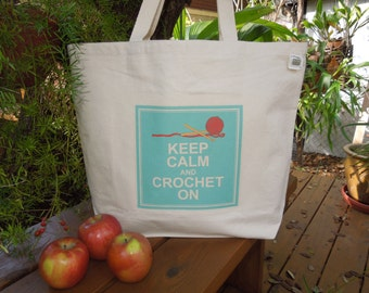 Natural cotton canvas tote - Large canvas bag - Crochet bag - Carry yarn bag - Crochet tote - Keep calm and crochet on