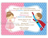 Princess And Superhero Birthday Invitation (Digital File)