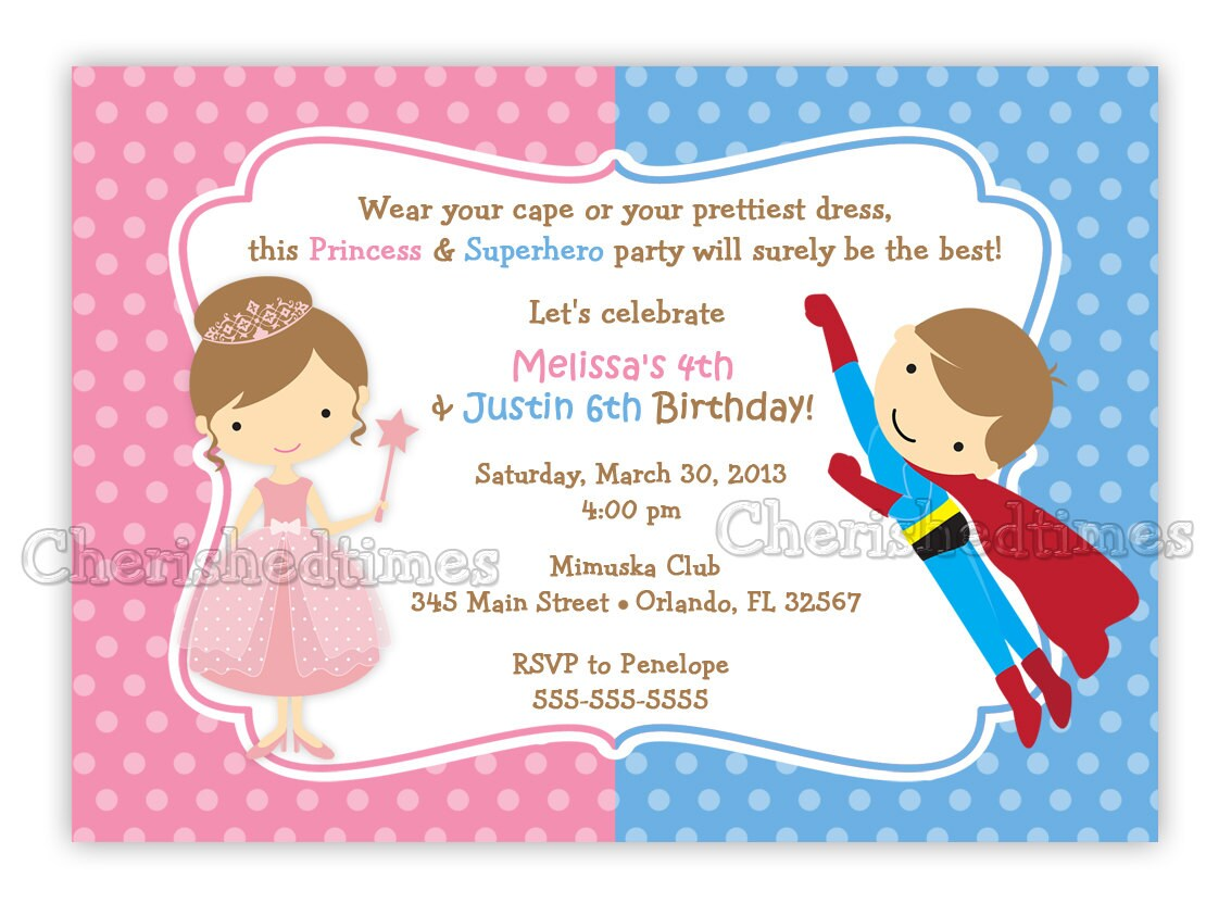 Princess And Superhero Birthday Invitation Digital File