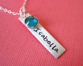Hand Stamped Sterling Silver Jewelry with Birthstone Crystal