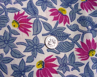 Vintage Full Feed Sack Cotton Fabric - PRETTY Yellow and Plum Sunflowers on Creamy White Background   - 36 x 56
