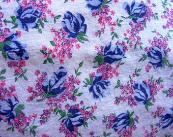Vintage FEEDSACK Full Cotton Feed sack Quilting Fabric - BEAUTIFUL Blue Rose Buds with TINY Pink Flowers  on White Background  - 33 x 40