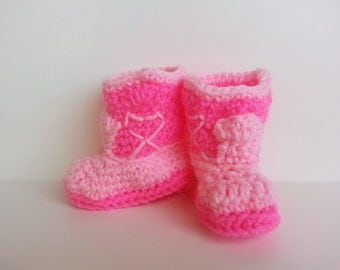 Cowboy Boots (Baby Booties)  Baby Shower Gift for Boy or Girl Pink on Pink