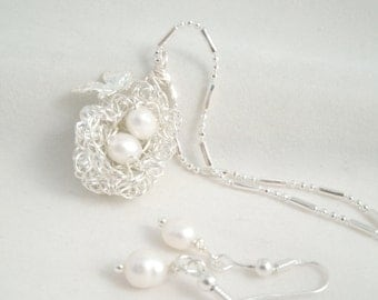 Birds ( Two Egg Nest Fresh) Water Pearl  Curly Wire wire wrap Necklace and Earring Set