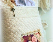 Ivory romantic pillow cushion, HEIRLOOM, pocket, Paris image, lace, Victorian letter keeper, photo keeper
