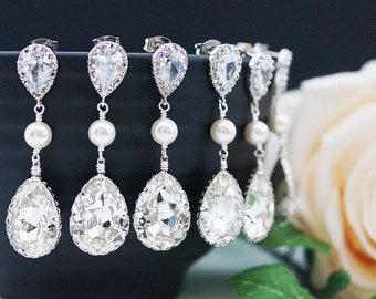 SET of 6,7,8,9,10,11 Bridal Earrings Bridesmaid Earrings Swarovski Crystal and Pearls Tear drop Earrings Wedding Bridesmaid gifts (E-B-0064)