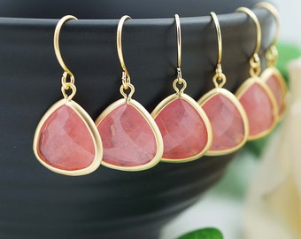 Wedding Jewelry Bridesmaid Jewelry Bridal Earrings Bridesmaid Earrings Baby Pink Agate Matte Gold Trimmed Earrings