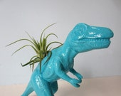 Upcycled Dinosaur Planter - Extra Large Turquoise Blue T Rex with Air Plant
