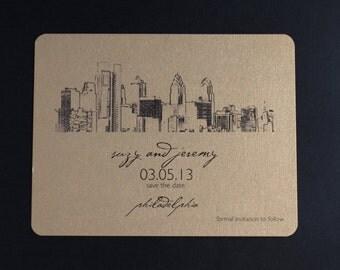 Philadelphia Skyline - Wedding Save the Date - Metallic Postcard