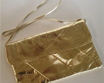 Vintage 1970s Gold Foil Over Leather Clutch