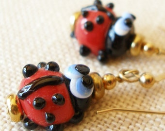 Ladybug Earrings, Ladybird, Nature, Red and Black, Insect Jewelry, Spring