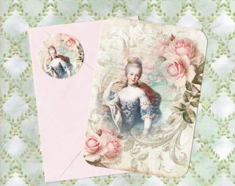Note Cards, Marie Antoinette, Vintage Style, Note Card Set, Stickers