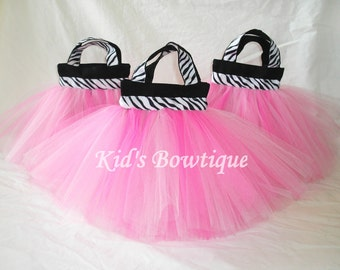 Set of 10 Zebra Wild Party Favor Tutu Bags - Diva Birthday Treat Bags