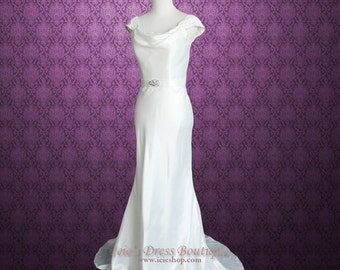 Cowl Neck Cap Sleeves Wedding Dress with Lace panel back