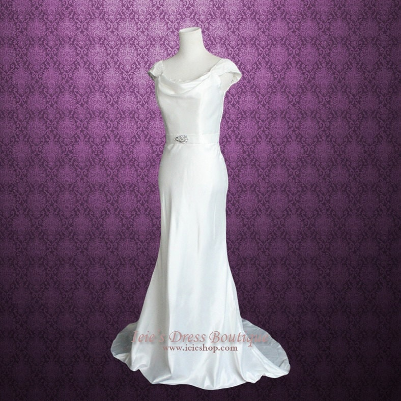 Cowl Neck Bridal Dress: Cowl Neck Cap Sleeves Wedding Dress With Lace Panel Back