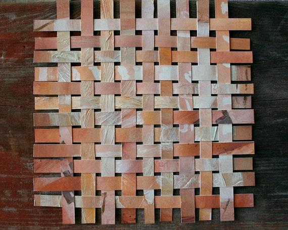 Sienna Paper Weaving- Mixed Media Original Abstract- Woven Paper Art- Peach Gold- Contemporary Decor