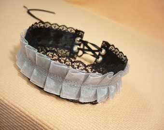 Gothic Choker with Lace and Pleated Organza, Black and Grey Necklace, Textile Jewelry, Baroque Neck Piece, Costume