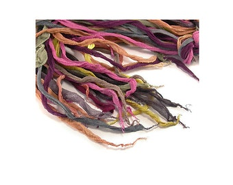 Hand Dyed Silk Ribbons  - Soft 100 % Silk Crinkle Ribbons in Mixed Colours for Jewellery Making, Alternative to Leather etc 5 Ribbon Bundle