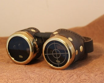 Steampunk Goggles with machined rims, brown and brass, with smoke tint lenses