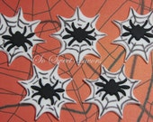 Fondant edible cupcake toppers - Spider in spider web