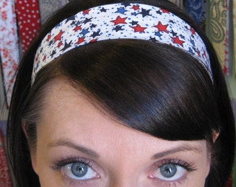 White Stay Put Headband w/ Red and Blue Stars - So Patriotic