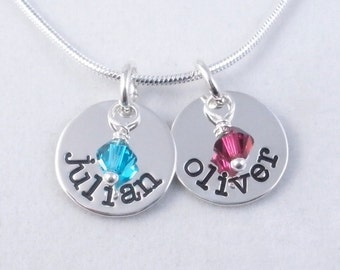 Mom's Necklace - Personalized hand stamped metal
