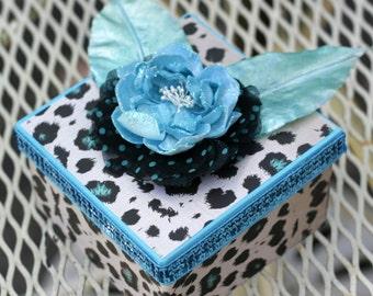Decorated Paper Mache Blue Leopard Skin Gift Box
