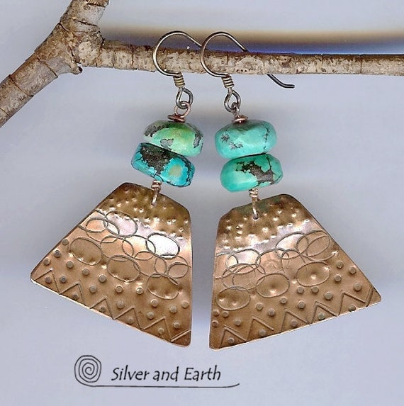 Turquoise Copper Earrings, Turquoise Earrings, Artisan Metalwork Jewelry, Boho Tribal, Ethnic, Rustic, Gypsy, Dangle